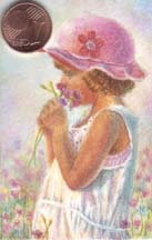Miniature Painting in Watercolor - Flower Girl by Doris Joa
