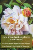 Watercolor E-book: How to paint realistic flowers in watercolor