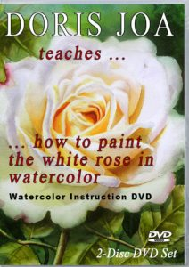 Watercolor workshop on DVD and as Online Video - white rose painting