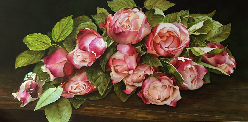 Bouquet of country roses on wood table - flower painting in watercolor