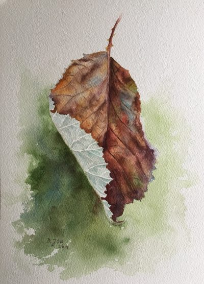Leaf Painting in watercolor