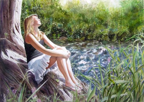 young girl sitting at the river - figurative watercolor painting