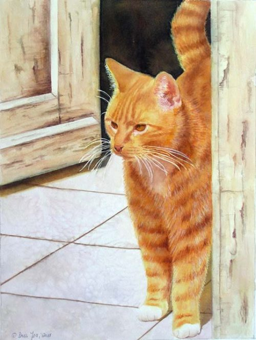 Red Cat standing in front of door -realistic watercolor cat painting