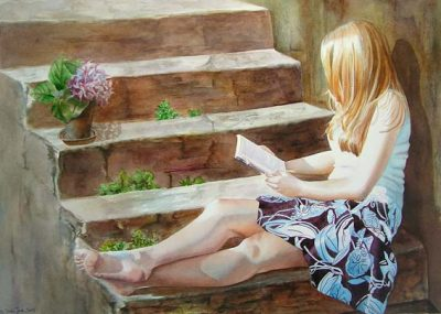 young girl reading in a book - romance novel - figurative watercolor painting